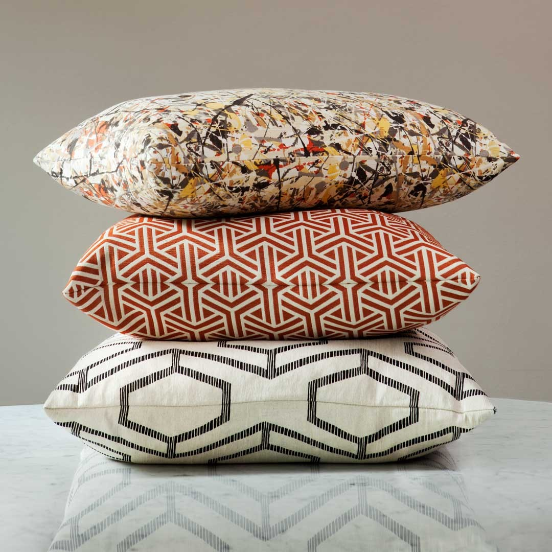 designer throw pillows with a knife edge